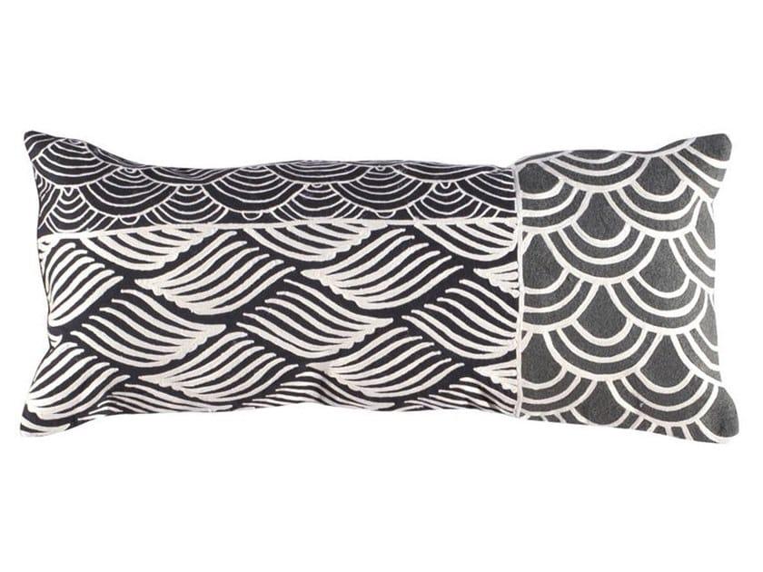 Rectangular hand embroidered wool cushion KIMONO | Rectangular cushion by Toulemonde Bochart