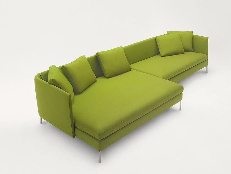 Fabric sofa with removable cover with chaise longue KIMONO | Sofa with chaise longue by paola lenti