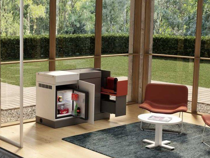 Mini Kitchen DOMOMAG| Modular mini kitchen on castors by Bralco