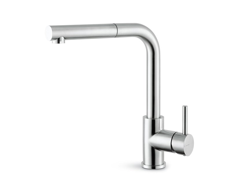 Stainless steel kitchen mixer tap with swivel spout REAL STEEL | Kitchen mixer tap with pull out spray by newform