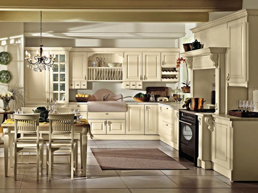 Lacquered wooden fitted kitchen with handles RAFFAELLO   Kitchen by Oikos Cucine