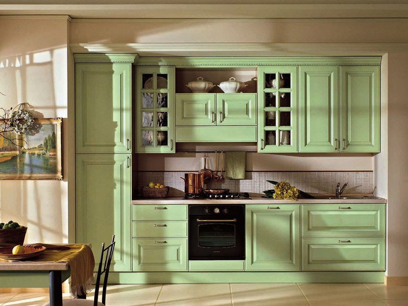 Lacquered wooden fitted kitchen with handles RAFFAELLO | Kitchen with handles by Oikos Cucine