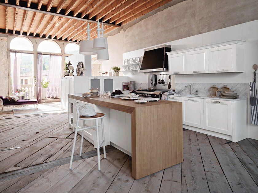 Lacquered ash kitchen with island with handles ASOLO | Kitchen with island by DIBIESSE