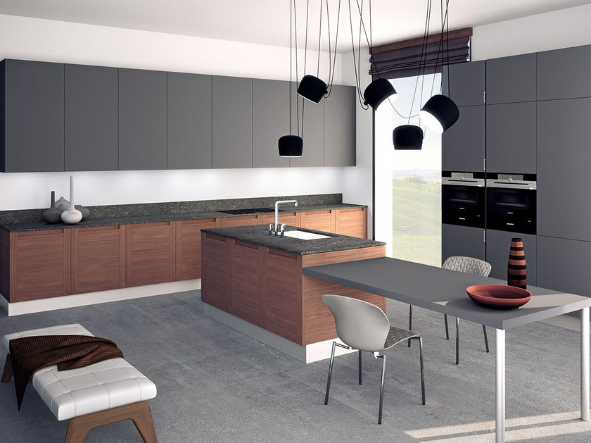 Wooden fitted kitchen with island MILLENIUM   Kitchen with island by Oikos Cucine