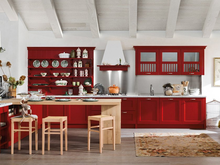 Lacquered ash kitchen with handles with peninsula ASOLO | Kitchen with peninsula by DIBIESSE