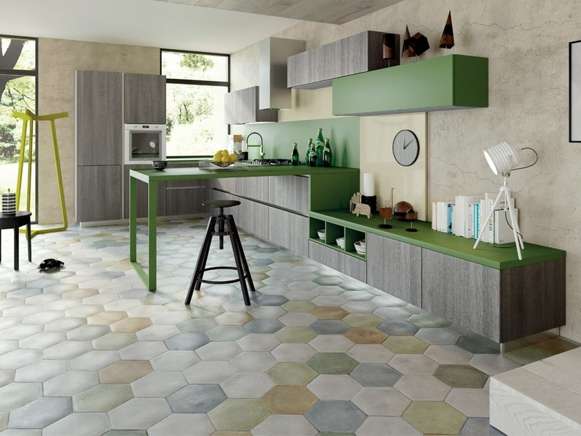 Cucina in laminato con penisola senza maniglie SPRING   Cucina senza maniglie by DIBIESSE