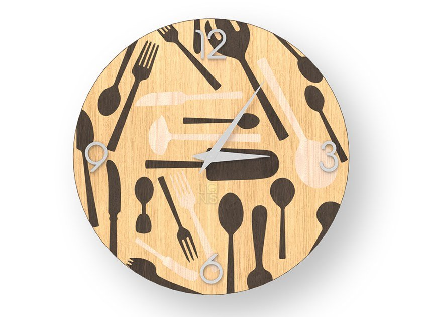 Wall-mounted wooden clock KITCHENTOOLS WARM | Clock by LIGNIS®