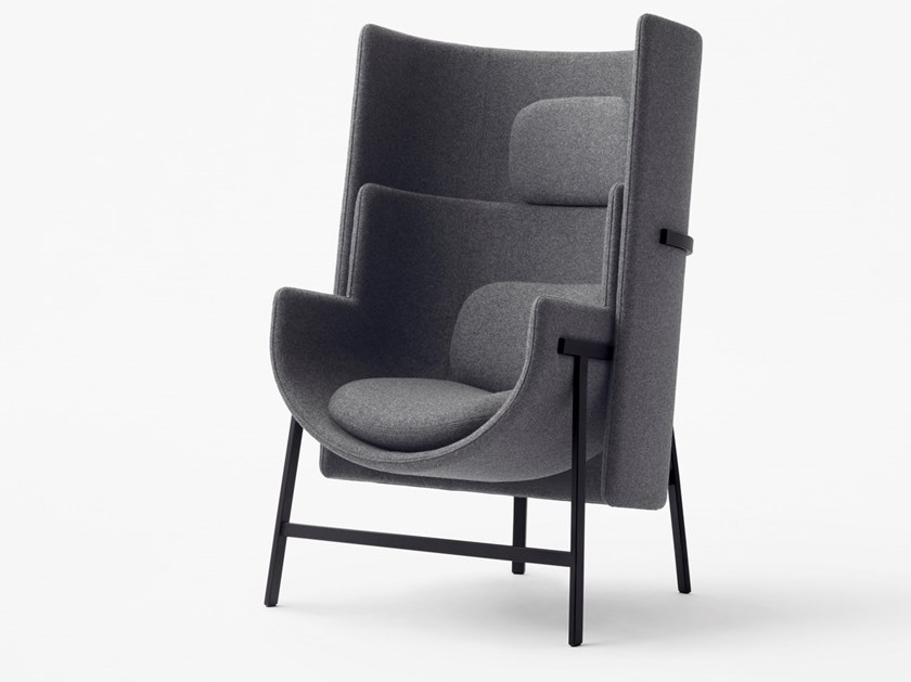 Fabric easy chair with armrests high-back KITE   Fabric lounge chair by STELLAR WORKS