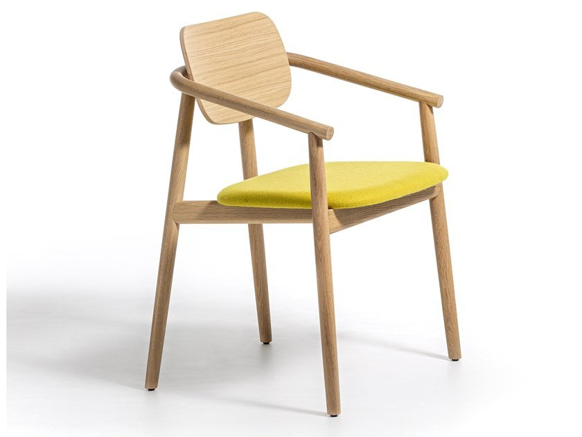 Solid wood chair with integrated cushion KLARA   Chair with integrated cushion by Moroso