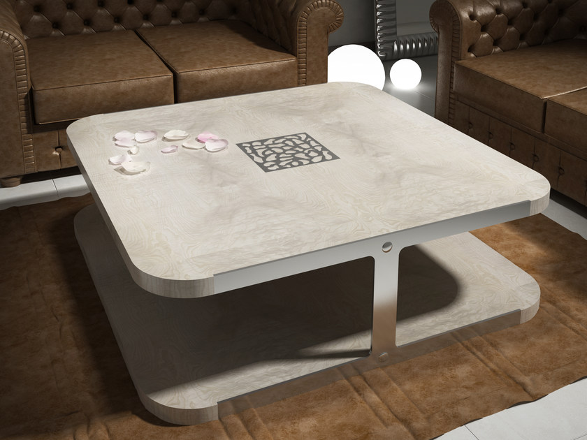 Low square ash coffee table KLASS | Ash coffee table by Muebles Canella