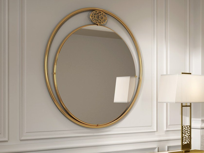 Round wall-mounted framed mirror KLASS | Round mirror by MasqLiving