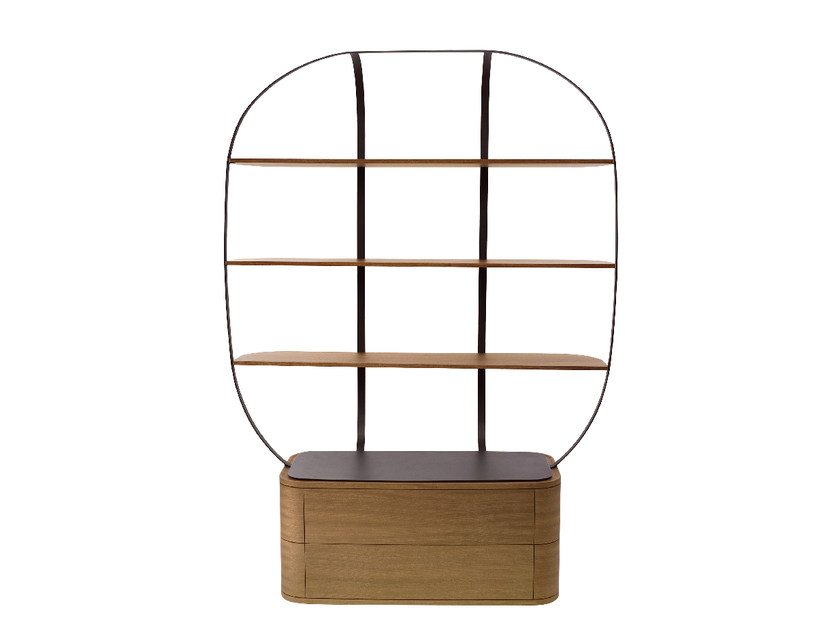 Wooden bookcase with drawers KLEC by Monolithe Edition