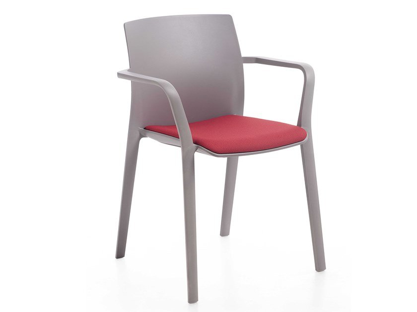 Stackable chair with armrests with integrated cushion KLIA | Chair with integrated cushion by Kastel