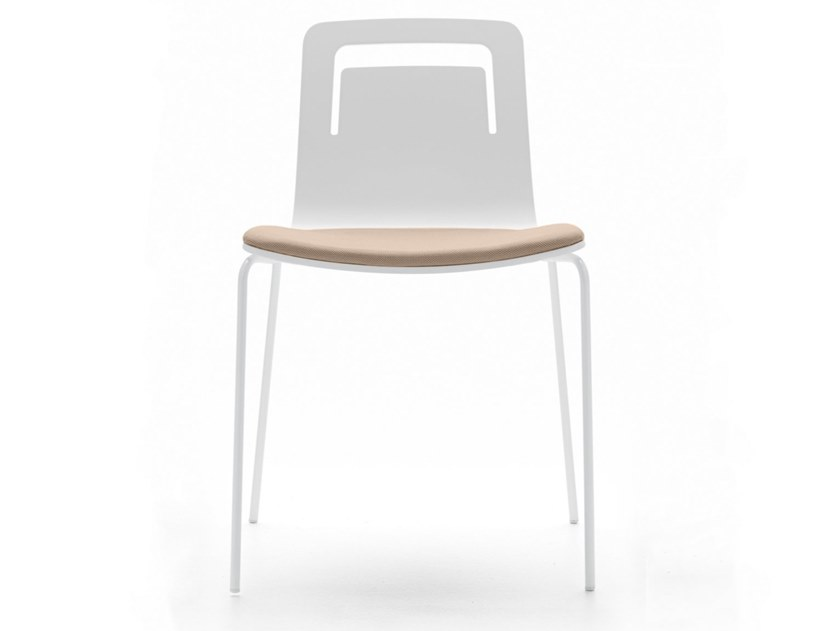 Stackable wooden chair with integrated cushion KLIP   Chair with integrated cushion by Viccarbe