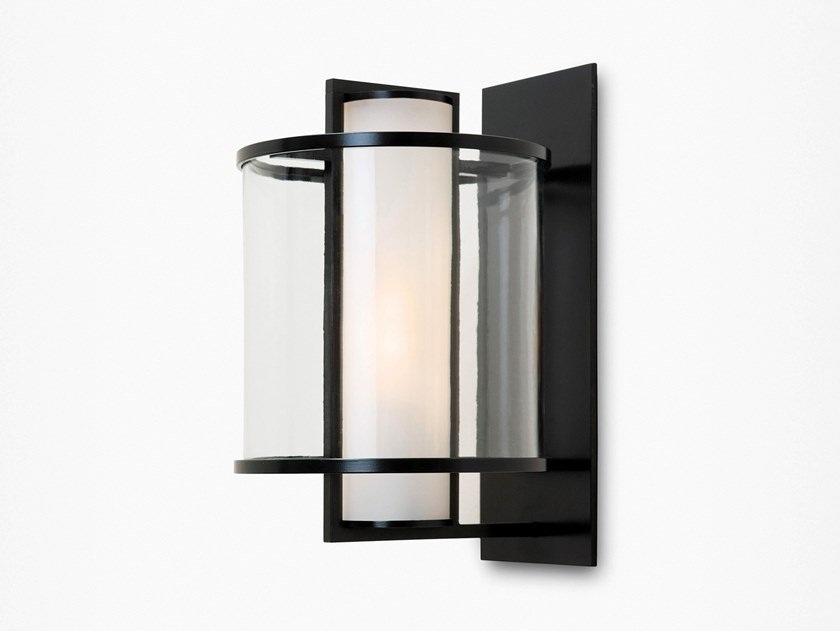 Direct light glass and steel wall light KLOS by Kevin Reilly Collection