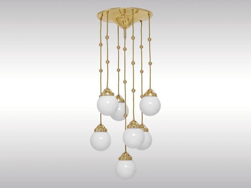 Classic style brass pendant lamp KM2 by Woka Lamps Vienna