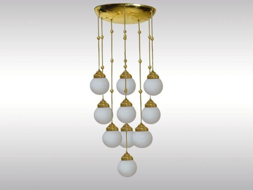 Classic style brass pendant lamp KM3 by Woka Lamps Vienna