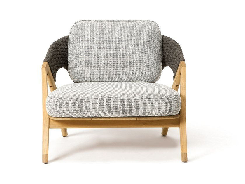 Teak garden armchair with armrests KNIT | Garden armchair by Ethimo