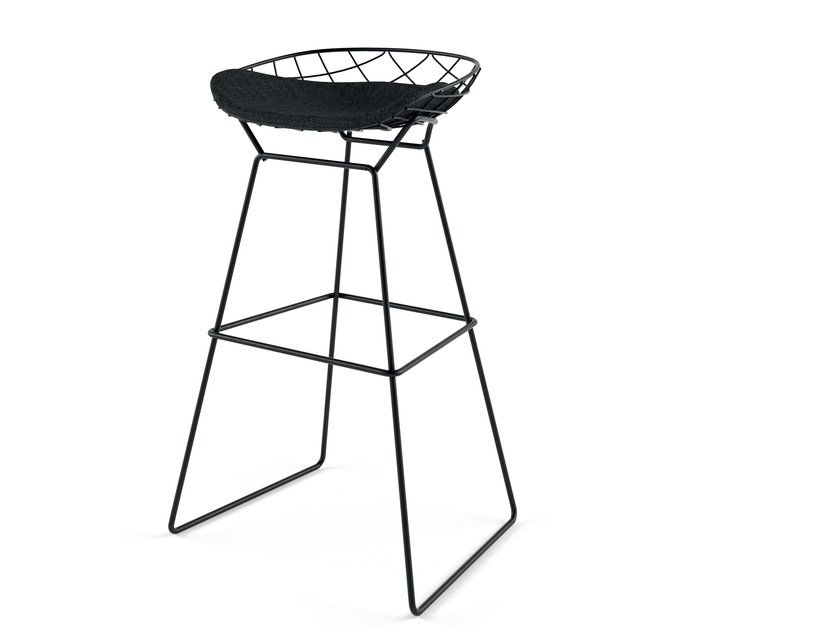 High sled base powder coated steel stool KOBI HIGH STOOL - N03 by Alias