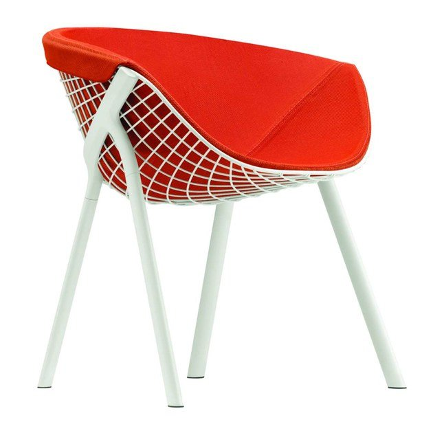 Steel chair with armrests KOBI PAD LARGE - 044 by Alias