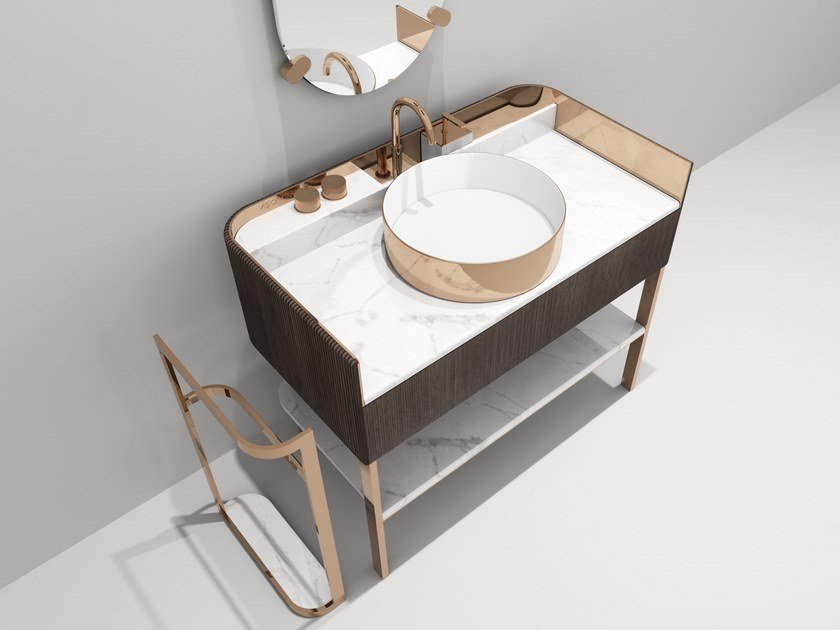 Single marble console sink KOBOL | Single vanity unit by Visionnaire