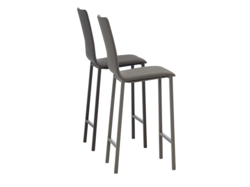 High upholstered leather stool KOKO   Upholstered stool by MOBLIBERICA