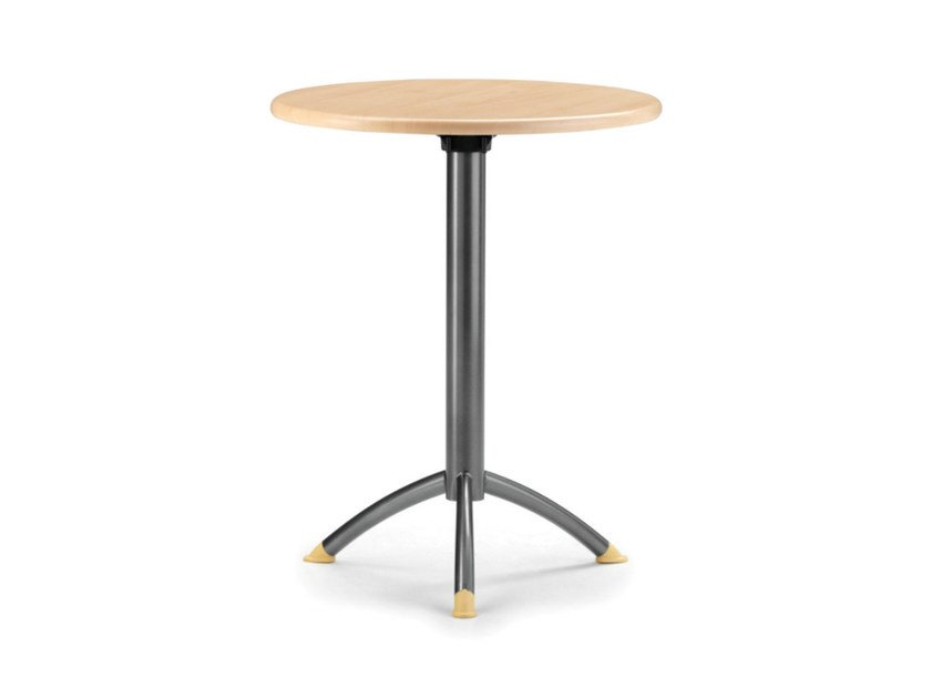 Round MDF table with 4-star base KOMBY 940 W by TALIN