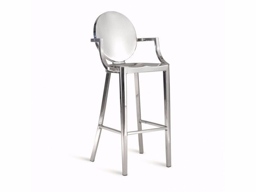 High aluminium stool with armrests KONG | Stool with armrests by Emeco