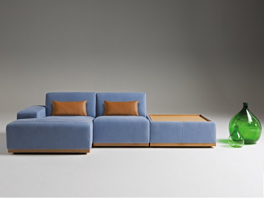 Modular leather sofa with chaise longue KONGENS | Sofa with chaise longue by Egoitaliano
