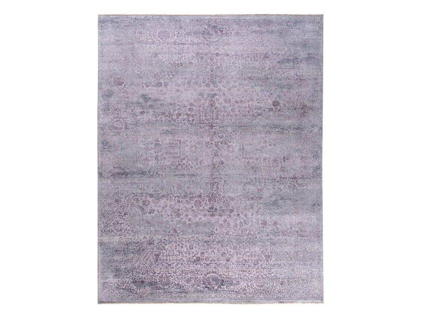 Handmade custom rug KORK REINTEGRATED GREY PURPLE by Thibault Van Renne
