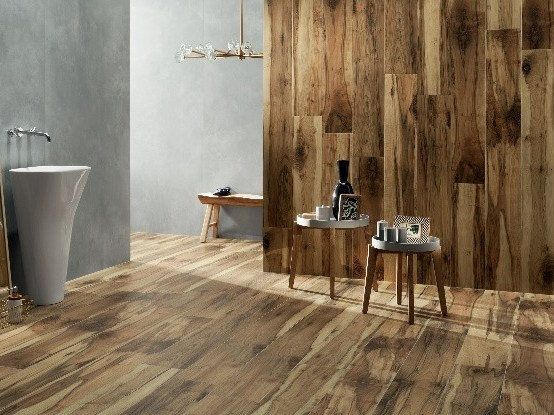 Porcelain stoneware wall/floor tiles with wood effect KORZILIUS WOOD by tubadzin
