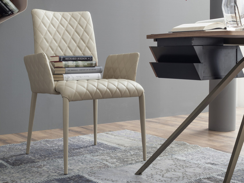 Upholstered leather chair with armrests KOSMOS   Chair with armrests by Tonin Casa