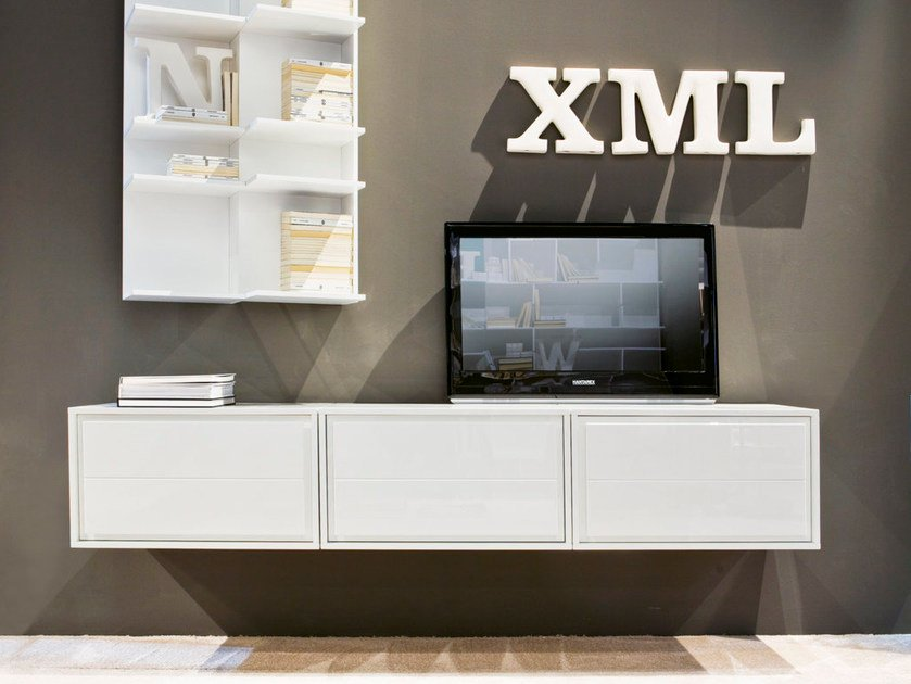 Mobile TV componibile in fibra di legno KREA by Pacini & Cappellini