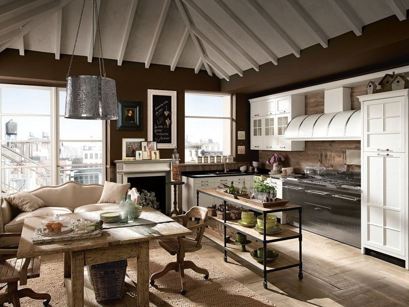Fitted wood kitchen KREOLA - COMPOSITION 03 by Marchi Cucine
