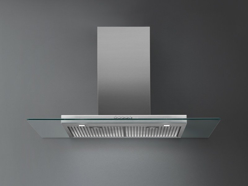 Wall-mounted glass and steel cooker hood KRISTAL by Falmec