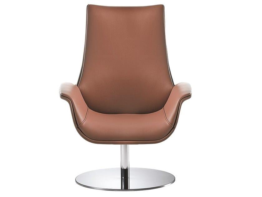Swivel leather armchair KRITERIA | Armchair by Kastel