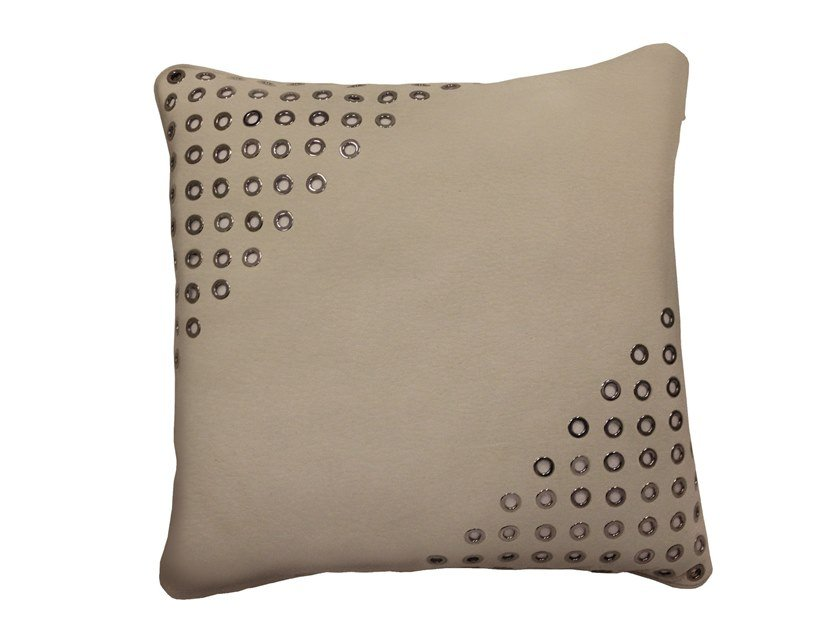 Solid-color square leather cushion KRITOS by Longhi