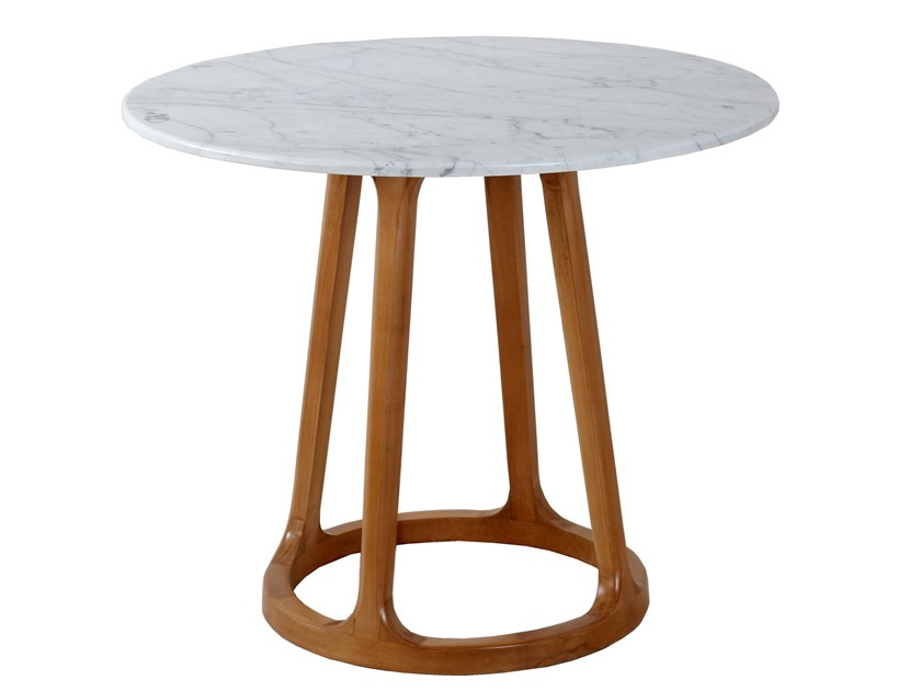 Contemporary style round wooden dining table KRUHY by ALANKARAM