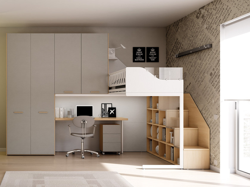 Loft fitted wooden teenage bedroom KS 202 | Bedroom set by Moretti Compact