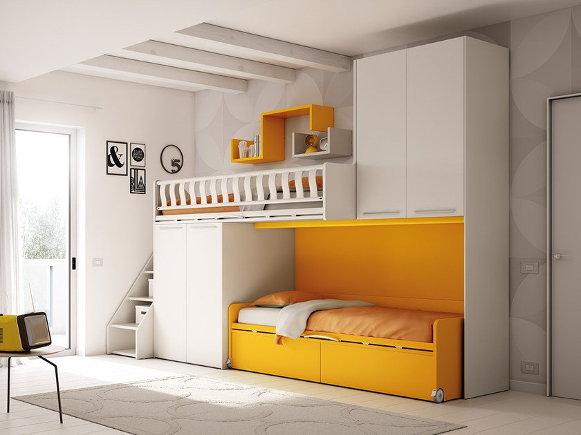 Loft fitted wooden teenage bedroom KS 205 | Bedroom set by Moretti Compact