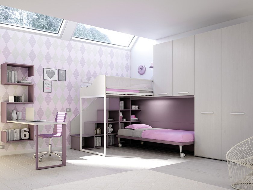 Loft fitted wooden bedroom set for girls KS 207 | Bedroom set by Moretti Compact