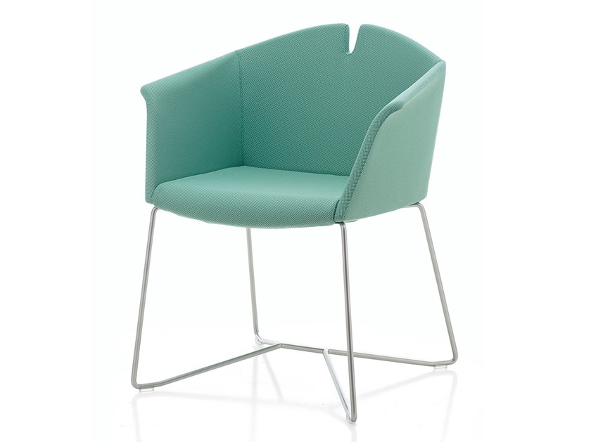 Sled base fabric chair KUAD | Chair with armrests by Kastel