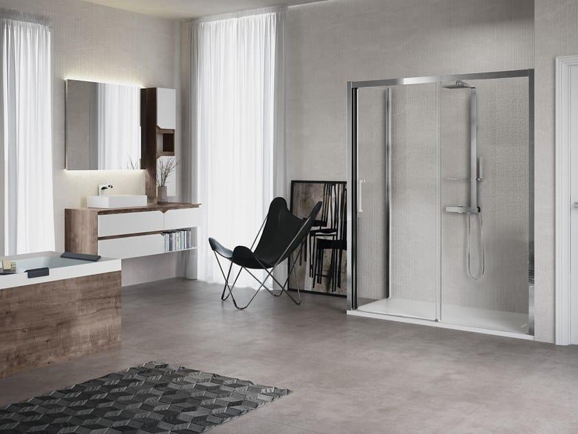 Corner shower cabin with sliding door KUADRA 2P+F by NOVELLINI