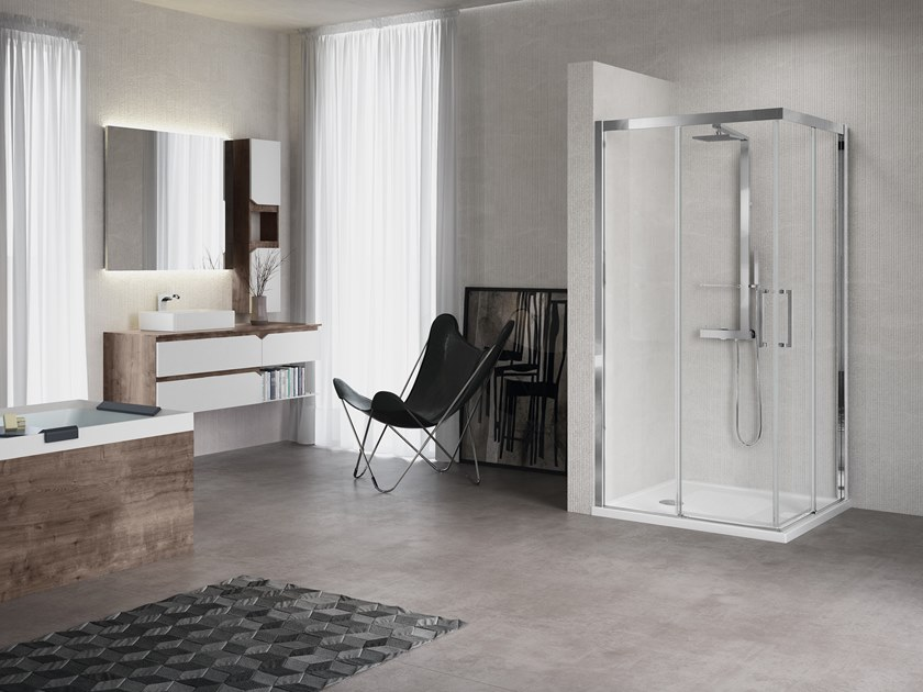 Corner shower cabin with sliding door KUADRA A by NOVELLINI