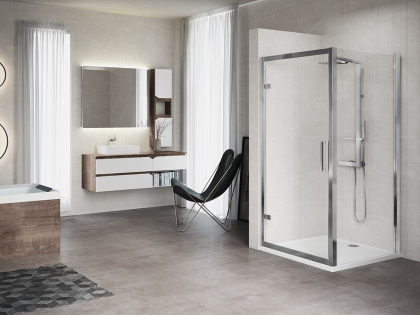 Corner shower cabin with hinged door KUADRA F by NOVELLINI