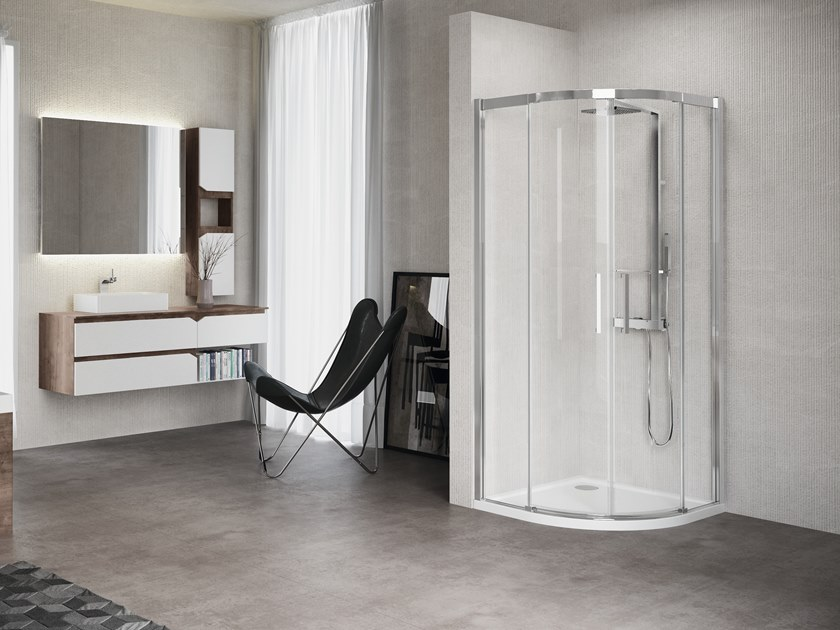 Corner semicircular shower cabin with sliding door KUADRA R by NOVELLINI