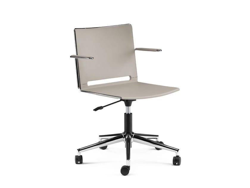 Swivel polypropylene task chair with 5-Spoke base with armrests KUBIKA | Swivel task chair by Arte & D