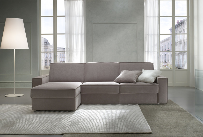 Fabric sofa bed with chaise longue KURT by Felis