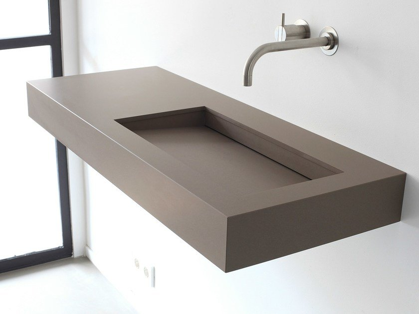 Rectangular wall-mounted composite material washbasin KUUB   Composite material washbasin by Not Only White
