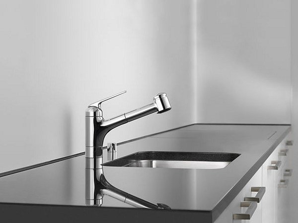 Countertop kitchen mixer tap with pull out spray KWC DOMO | Kitchen mixer tap by KWC